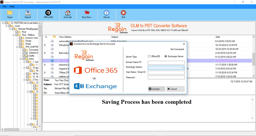 Export OLM files to Live Exchange server